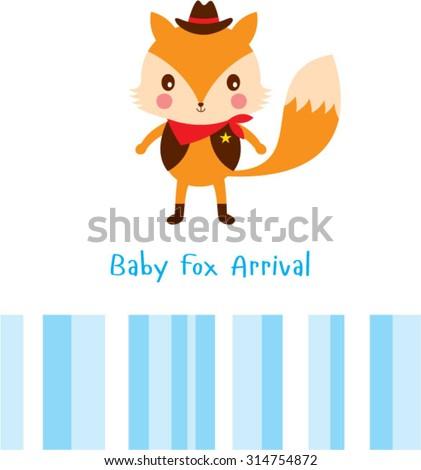 baby fox arrival card  - stock vector