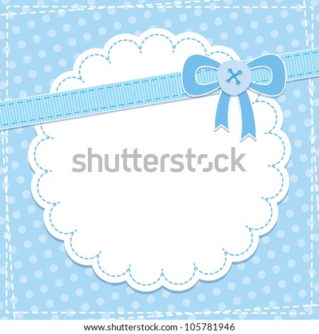 baby frame with blue bow and button - stock vector