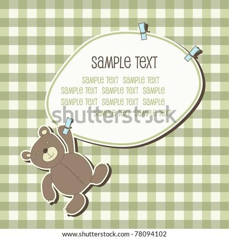 Baby frame with teddy bear, vector - stock vector