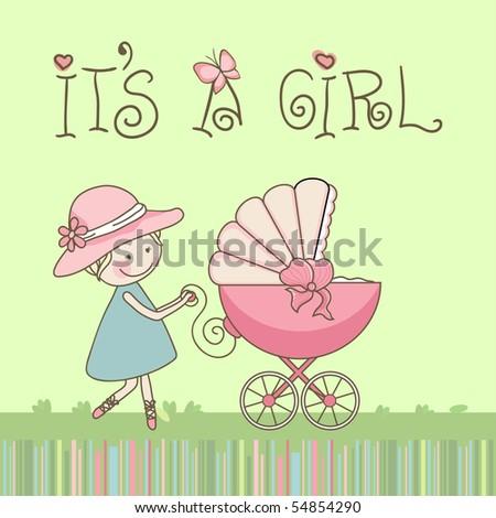 baby girl announcement - stock vector