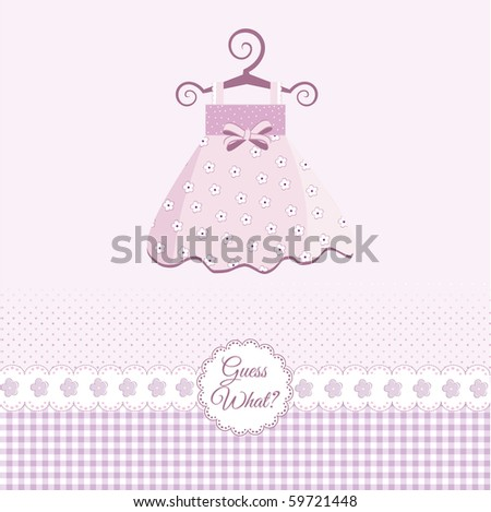 baby girl announcement - stock vector