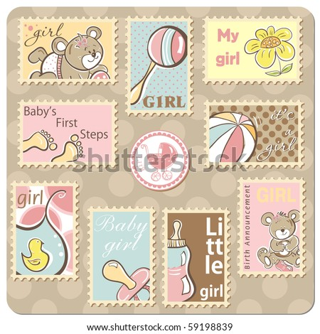 Baby girl announcement card - collection of postal stamps - stock vector