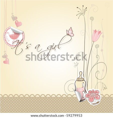 Baby girl announcement card - It's a girl; every object on separate layer - stock vector