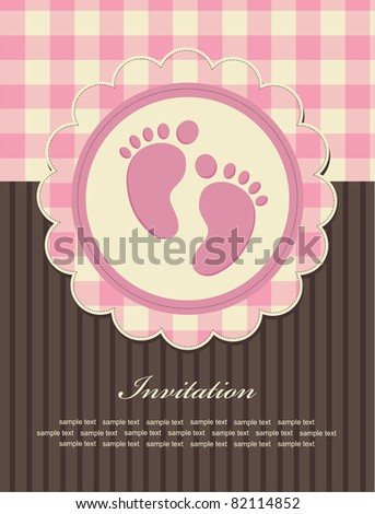 baby girl announcement card. vector illustration - stock vector