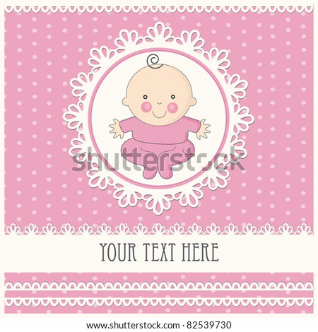 baby girl announcement card. vector illustration - stock vector