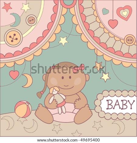 baby girl arrival announcement card - stock vector