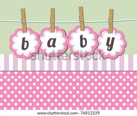 Baby girl arrival announcement card - stock vector
