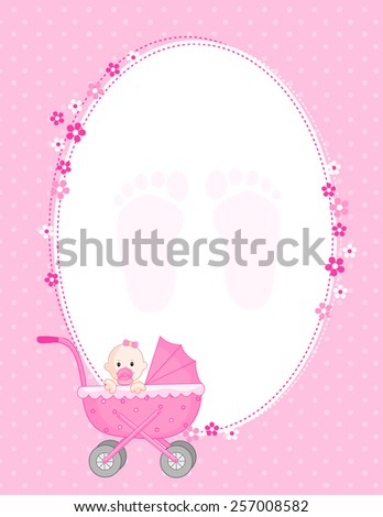 Baby girl arrival announcement card in pink - stock vector