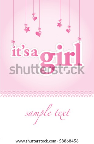 Baby girl arrival announcement card. Perfect as a template. - stock vector