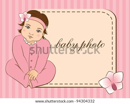 Baby girl arrival announcement card. photo frame.  Vector illustration. - stock vector