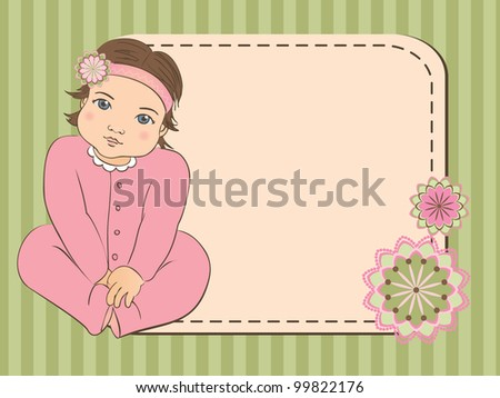 Baby girl arrival announcement card. scrap book background. frame. Vector illustration. - stock vector