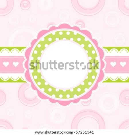 Baby girl arrival announcement card, vector - stock vector