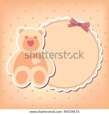 Baby girl arrival announcement  card. Vector frame - stock vector