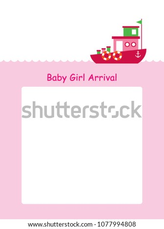 baby girl arrival announcement card boat stock vector 1077994808