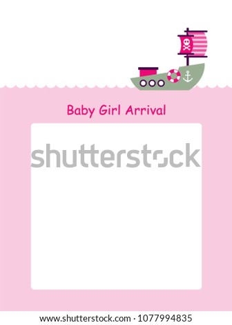 baby girl arrival announcement card boat stock vector 1077994835