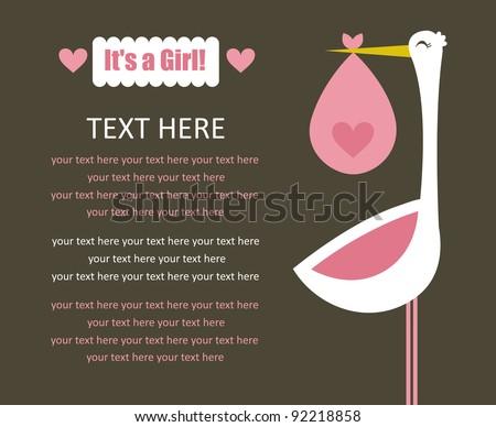 baby girl arrival card. vector illustration - stock vector