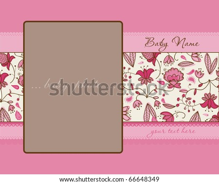 Baby Girl Arrival Card with Frame - stock vector
