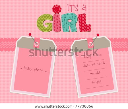 Baby Girl Arrival Card with Photo Frame in vector - stock vector