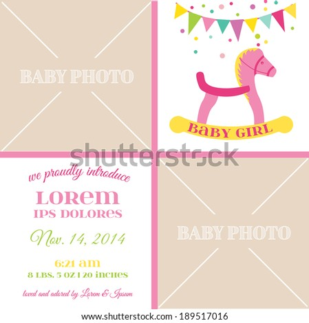 Baby Girl Arrival Card - with place for your text and photo -  in vector - stock vector