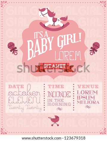 Baby girl baby shower invitation card stock vector 123679318 baby girl baby shower invitation card stock vector 123679318 shutterstock stopboris Image collections