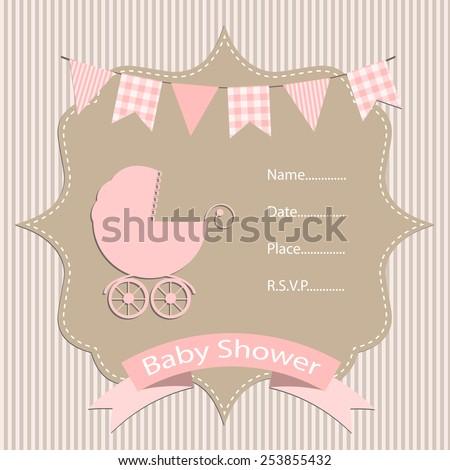 baby girl, baby shower invitation card. vector/illustration. - stock vector