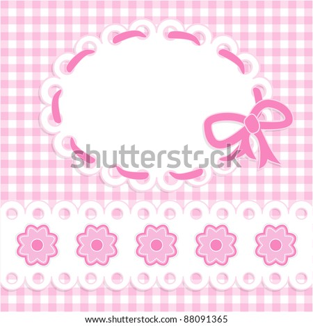 Baby girl card with stripes and flowers - stock vector