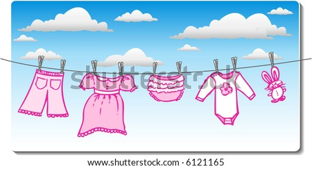 baby girl clothes on the clothesline with clouds in background - stock vector