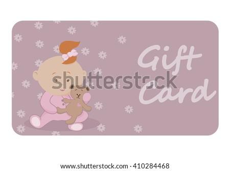 Baby Girl Gift Card Baby Showerits Stock Vector 410284468 Shutterstock