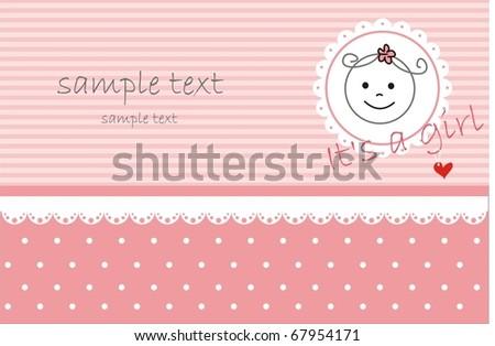 Baby Girl Greeting card - stock vector