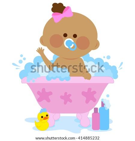 Baby girl in a tub taking a bath.  - stock vector