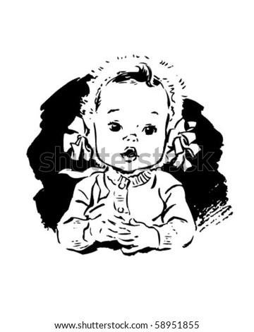Baby Girl In Bonnet - Retro Clip Art - stock vector