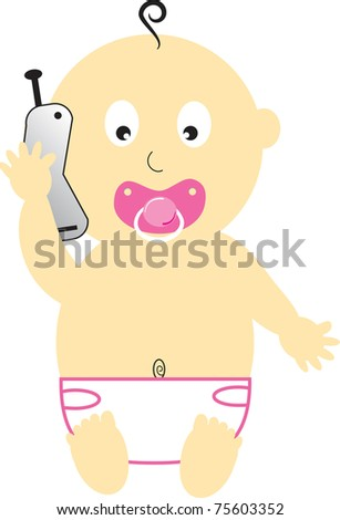Baby Girl on Cell Phone - stock vector