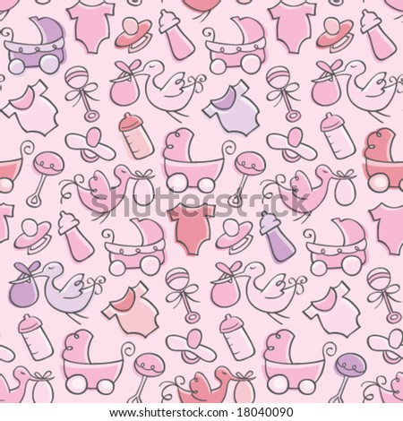 Baby Girl Pattern - stock vector