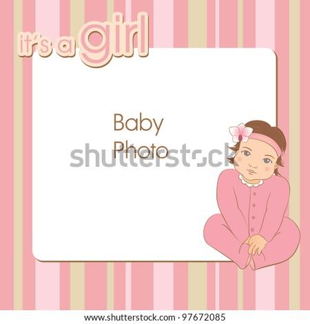 Baby girl photo frame. Vector illustration. - stock vector