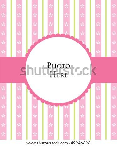baby girl photo template - stock vector