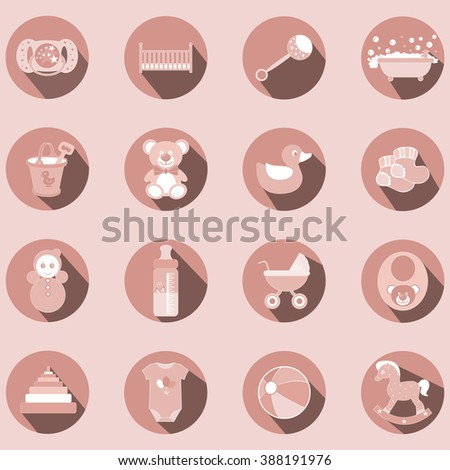 Baby girl pink flat design icons set. Template elements for web  - stock vector