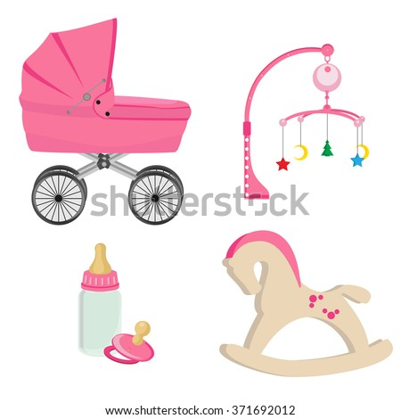 Baby girl pink perambulator, bottle, nipple, pram rattle with star, moon and tree , rocking horse vector icon set - stock vector