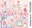 baby girl scrapbook set - stock photo