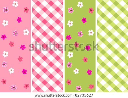 baby girl seamless patterns with fabric texture - stock vector