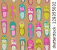 Baby Girl Shoes Background - for design or scrapbook - in vector - stock vector