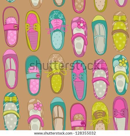 Baby Girl Shoes Background - for design or scrapbook - in vector - stock vector