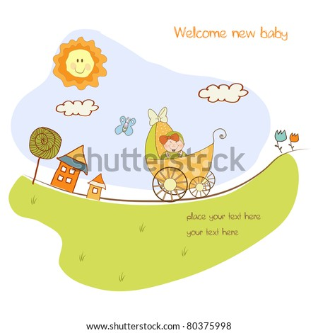 baby girl shower announcement card with pram - stock vector
