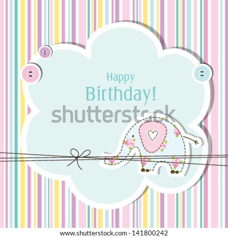 Baby Girl Shower Birthday Card Copy Stock Vector Royalty Free