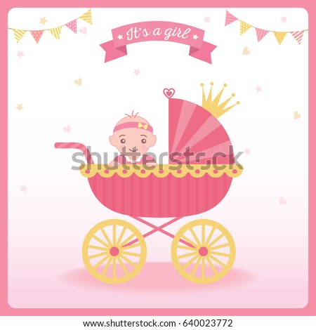 Baby girl shower greeting card new stock vector 640023772 shutterstock baby girl shower greeting card for new born girls decorated with princess baby carriage and crown m4hsunfo