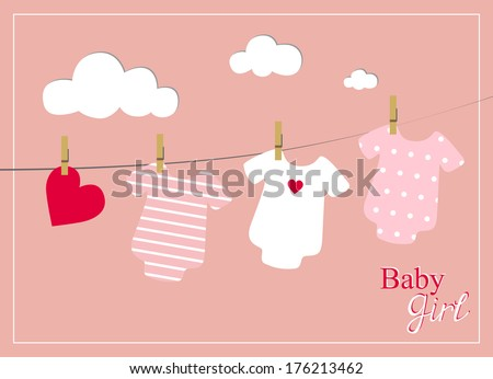 baby girl shower invitation card, baby bodysuits on pink background - stock vector