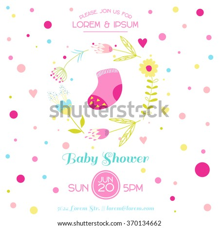 Baby Girl Shower or Arrival Card - with Cute Socks - in vector - stock vector