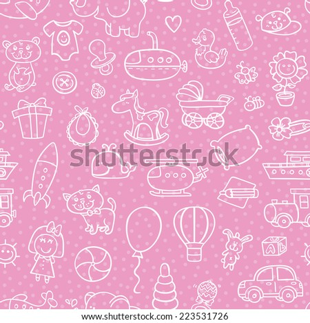 baby girl toys seamless pattern. vector outline seamless pattern for baby girl with toys for background, textile, baby shower - stock vector