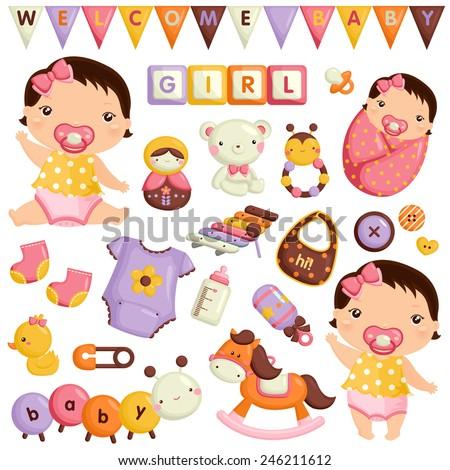 Baby Girl Vector Set - stock vector
