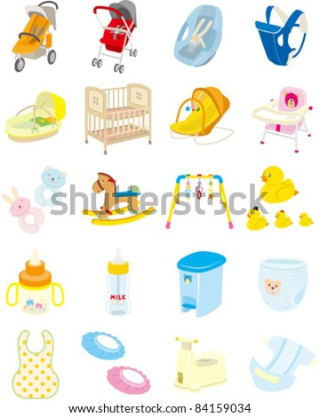 Baby goods - stock vector