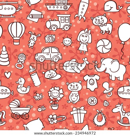 baby goods pattern. vector seamless pattern with toys and other baby goods for baby shower, textile, scrapbook, background  - stock vector